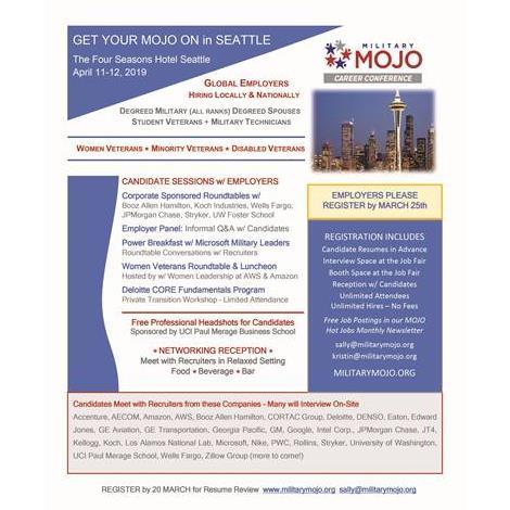 Military Mojo Veteran Job Fair April 11 12 2019 Seattle Wa